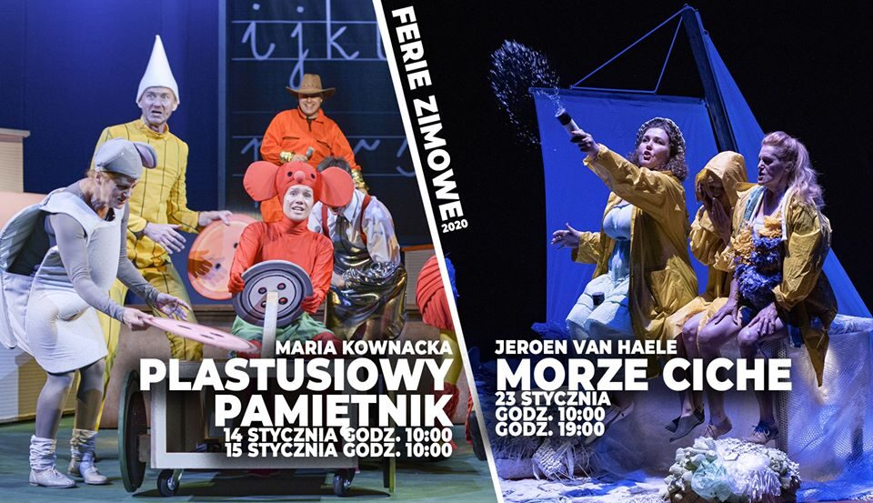 """Dla dzieci, młodzieży oraz dla dorosłych. Teatr Nowy w Zabrzu zaprasza do spędzenia wolnego czasu w ferie na spektaklach """"Plastusiowy pamiętnik"""" i """"Ciche morze."""""""