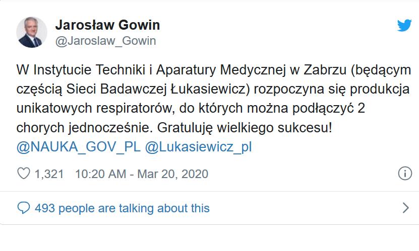 Mają być innowacyjne, bo będzie można do nich podłączyć równocześnie dwóch pacjentów. Mowa o respiratorach, których produkcja rusza w Zabrzu – poinformował www.wpolityce.pl